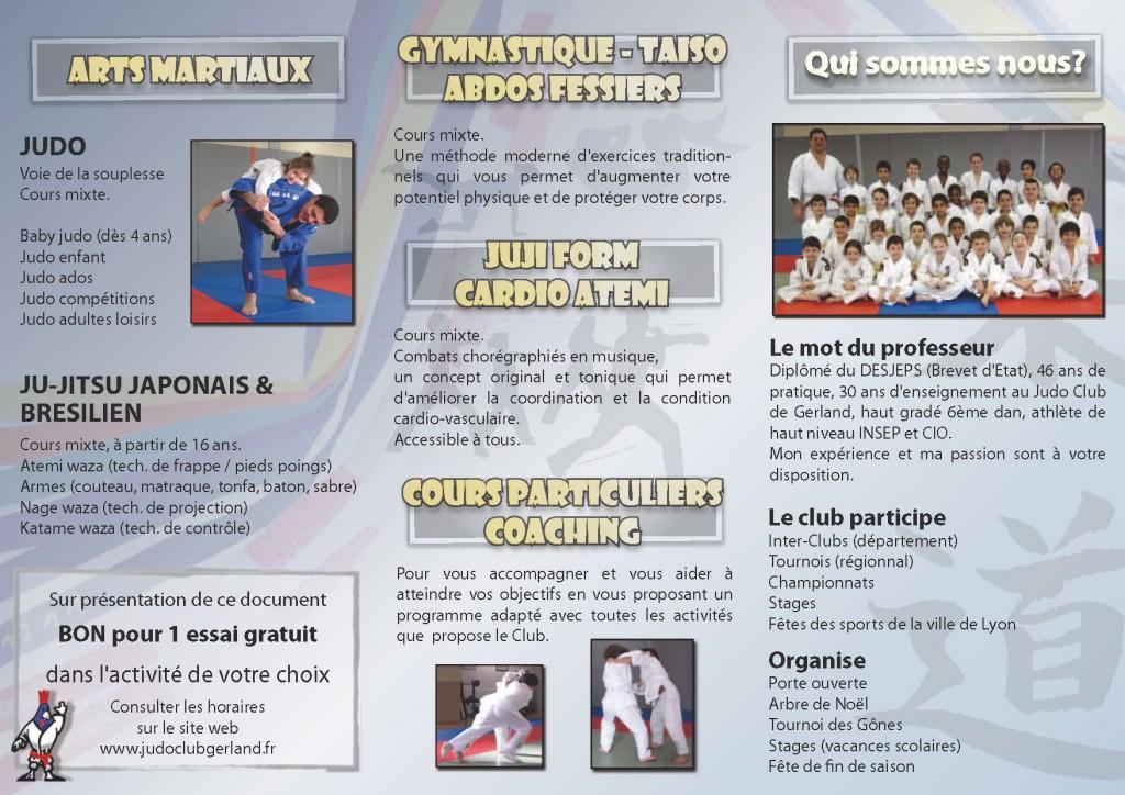 Bon pour un essai gratuit pour l'activité de votre choix au Judo Club de Gerland